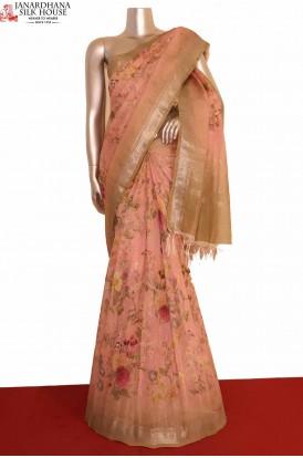 Floral Linen Silk Saree..