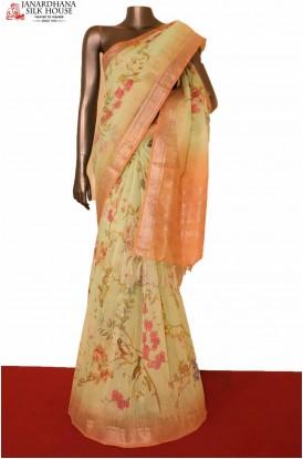Floral Linen Silk Saree