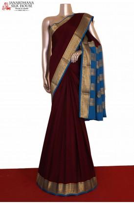 Contrast Pure Mysore Crepe Silk Saree