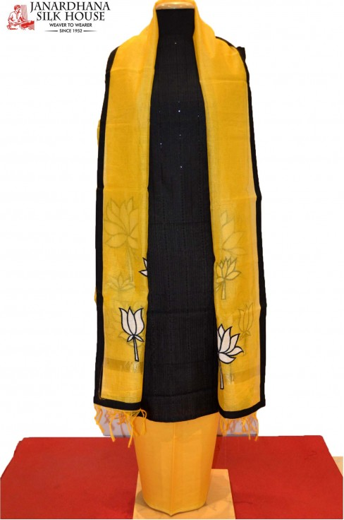Cotton Black Suit With Yellow ..