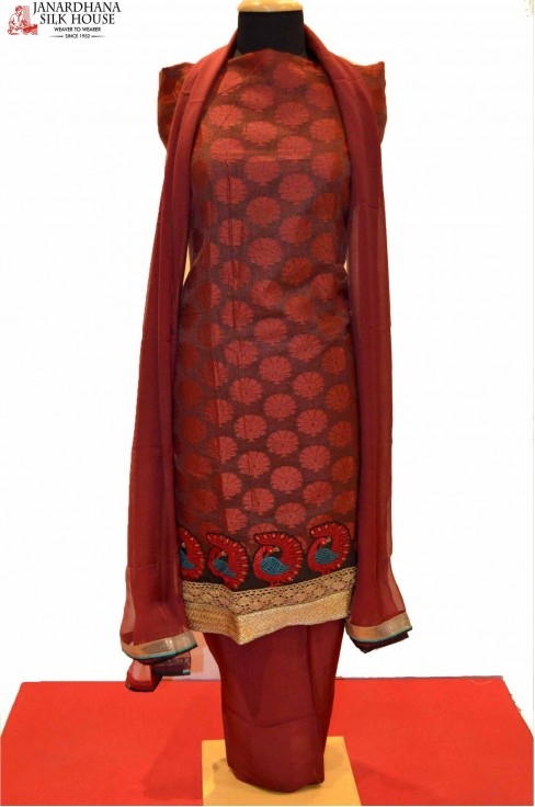 Designer Cotton Suit with Peacock Design
