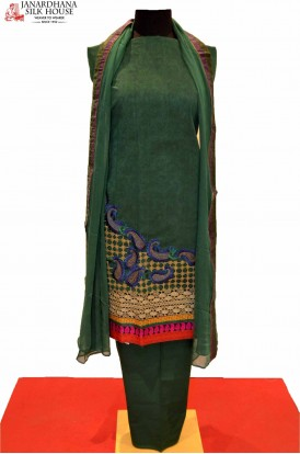 Green Cotton Suit With Designer Embrodiery Work