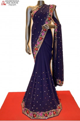 GSJC00661-Designer Party Wear Crepe Saree