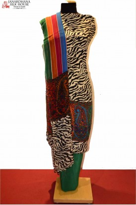 Abstract Zebra Prints Beautiful Pure Crepe Silk Suit