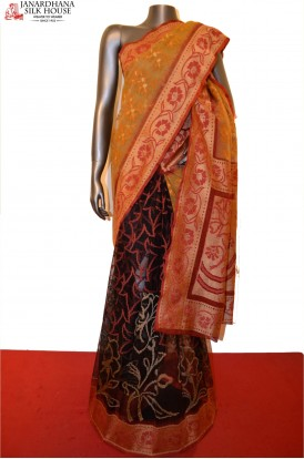 Exquisite Grand Patli Handloom Banarasi Kora Silk Saree