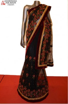 SSJC08196-Designer Party Wear Net Saree