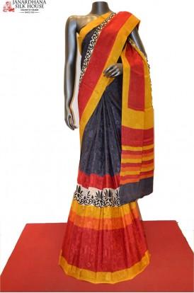 Stylish Jacquard Printed Pure Crepe Silk Saree