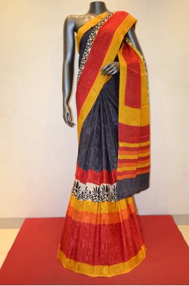 Stylish Jacquard Printed Pure Crepe Silk Saree