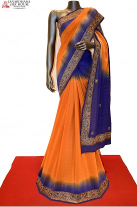 Shaded Heavy Party Wear Embroidery Silk Chiffon Saree