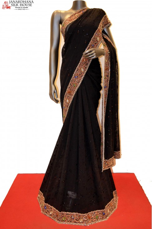 Black Georgette With Designer ..