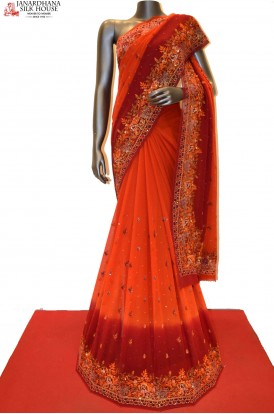 SSJG00950-Designer Party Wear Crepe Saree