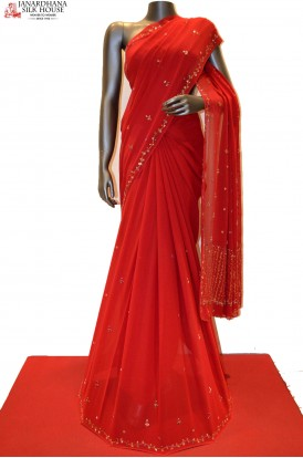 Red Pure Georgette Heavy Embroidery Silk
