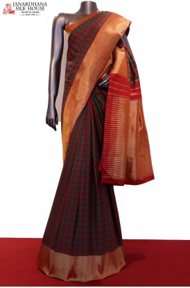 Exclusive Colorful Checks Wedding Kanjeevaram Silk Saree