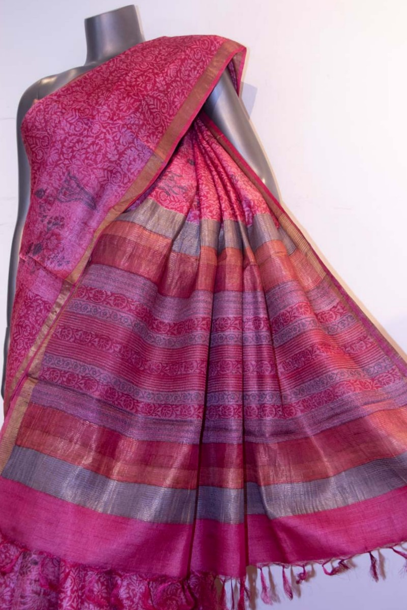 Party Wear Pure Printed Tussar Silk Saree