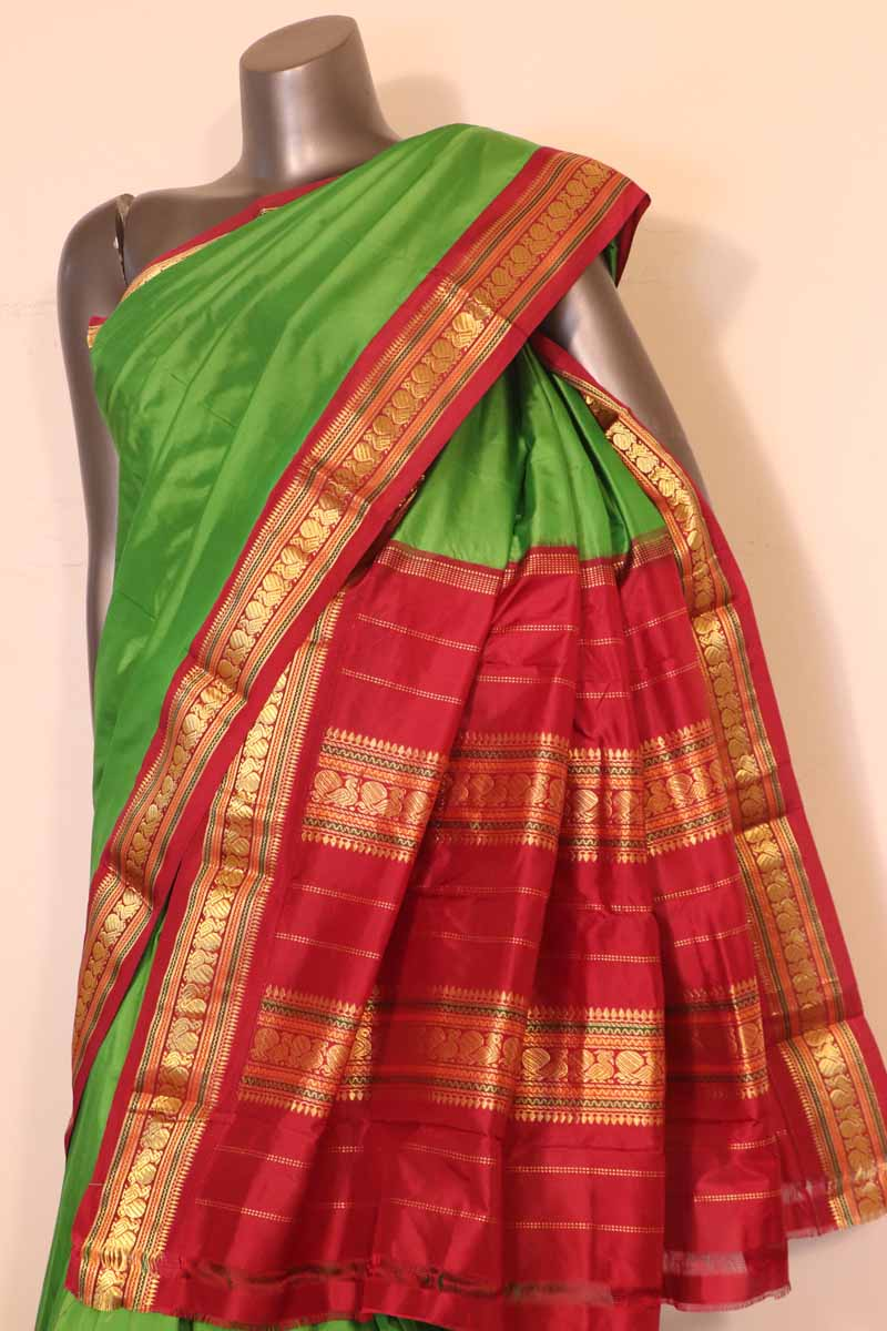 Green Peacock Wedding South Silk Saree