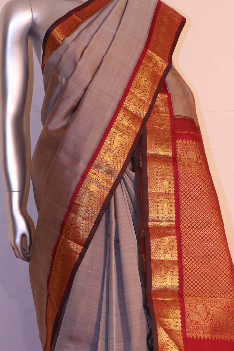 Grey Kanjivaram Silk Saree